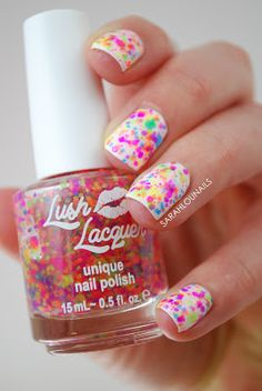 Lush Lacquer Clownin' Around is a multi neon matte glitter in a clear base. Looks amazing over any color!