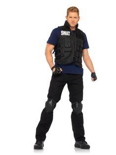 Leg Avenue Men's 4 Piece SWAT Costume, Black, One Size