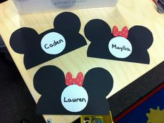 Cubby name tags Mickey and Minnie style.