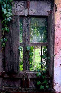 Gypsy Purple home. Eclectic Windows, Ventana Windows, Purple Home, Pink Purple, Window View, Through The Window, Old Doors, Garden Spaces, Belle Photo