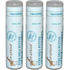 Out of Africa, Pure Shea Butter Lip Balm, Unscented, 3 Pack, 0.15 oz (4 g) Each