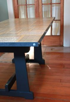 Industrial work table with book pages and Mod Podge. ~ Mod Podge Rocks!
