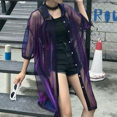 Edgy Outfits, Mode Outfits, Grunge Outfits, Girl Outfits, Fashion Outfits, Purple Outfits, Asian Fashion, Look Fashion, Girl Fashion