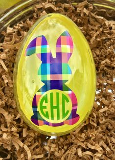 Items similar to Personalized Easter Egg, Monogammed Easter Egg, Plastic Easter . Large Plastic Eggs, Plastic Easter Eggs, Egg Pictures, Natural Oils For Skin, Patterned Vinyl, Personalized Gifts, Handmade Gifts, Jewelry Polishing Cloth, Egg Decorating