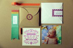 Paquete de tarjetas de anuncio de nacimiento de la hija de Brooke y Matt Lunneberg, por ellos mismos.