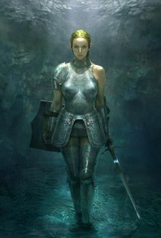 Artwork by Jiwon Pang, Female #warrior in full plate #armour