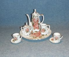 10 PIECE PINK AND RED ROSE PORCELAIN MINIATURE TEA SET WITH PLATTER in Collectibles, Decorative Collectibles, Miniatures | eBay