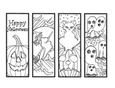 DIY Halloween Bookmarks Holiday Crafts Color Your Own Bookmark Instant Download Gift