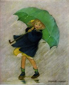 """Green Umbrella ~ """"A Very Little Child's Book of Stories"""" written and compiled by Ada M. Skinner and Eleanor L. with pictures by Jessie Wilcox Smith. Copyright 1923 by Dodd, Mead & Co. This is a 1951 edition by them. Rain Art, Umbrella Art, Walking In The Rain, Children's Book Illustration, Vintage Children, Jessie, Vintage Art, Vintage Clip, Illustrators"""