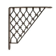 BLACK HAND FORGED IRON SHELF BRACKET - open shelving around entire sun room above window line, and one short open shelf in each corner, where I can hang things at arm's reach.