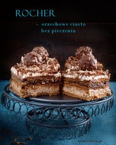 Ciasto Rocher – bez piecznia – Zjem to! Best Dessert Recipes, Sweet Desserts, No Bake Desserts, Cake Recipes, Polish Cake Recipe, Food Cakes, Cupcake Cakes, Cupcakes, Chocolate Ganache Tart