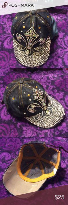 Dark wash denim jeweled baseball cap NEW New without tags: Dark wash distressed denim jeweled baseball cap Accessories Hats