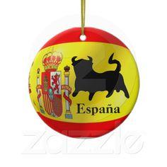 Spanish Flag With Bull Ornament