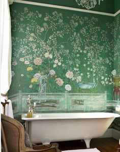Bathroom inspiration, beautiful wall behind bathtub.