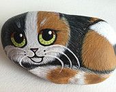 Calico Kitten CALICO CAT Hand Painted Cat River Rock ORIGINAL