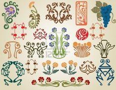 Art nouveau fleurs plantes Banque d'images