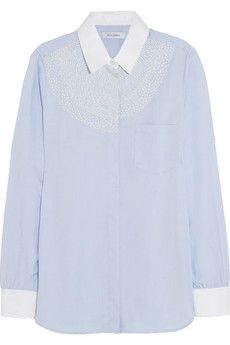 Thinking about this embroidery... Altuzarra Chika embroidered cotton shirt | NET-A-PORTER