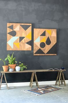 DIY geometric wooden art panels