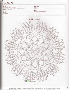 Doily Diagram - No linked pattern, just the image - but great if you can read them. Crochet Circles, Crochet Motifs, Crochet Diagram, Crochet Chart, Thread Crochet, Filet Crochet, Crochet Stitches, Crochet Patterns, Crochet Home