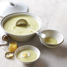 Leek-And-Parsnip Soup with Caviar and Black-Pepper Cream