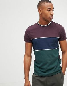 Browse online for the newest ASOS DESIGN t-shirt with 3 panel color block in burgundy styles. Shop easier with ASOS' multiple payments and return options (Ts&Cs apply). Polo Shirt Style, T Shirt Vest, Long Tops, How To Look Better, Asos, Burgundy, Short Sleeves, Menswear, Mens Fashion