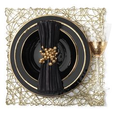 Dine in glamorous gold and black lacquer.
