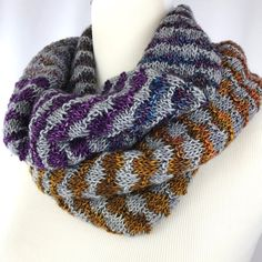 Cowl // neckwarmer // Purple // blue // by OrangeSmoothieKnits