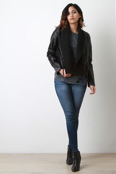 Contrast Shawl Collar Vegan Leather Jacket