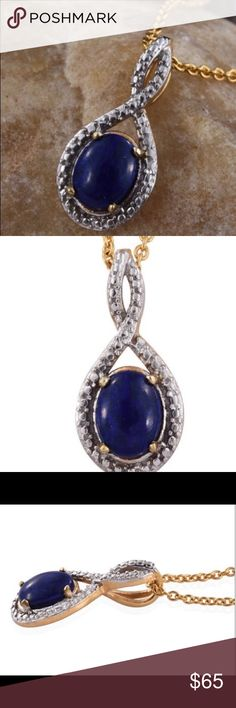 Lapis Lazuli 14k YG over Sterling Silver Pendant. Jazz up your neckline with this spectacular Lapis Lazuli Pendant.  18 inches Stainless Steel Chain impeccably crafted in 14K yellow gold and Sterling silver.  TGW 1.35 CTS.  PW. 2.530 grams Jewelry Necklaces