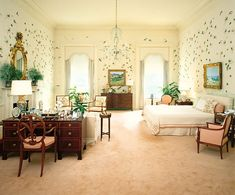 Master Bedroom - Reagan - he Reagan bedroom in 1981, looking south (Architectural Digest)