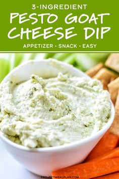 This 3-Ingredient Pesto Goat Cheese Dip is the easiest make-ahead appetizer (or snack) ever! Pairs perfectly with veggie sticks, crackers, on burgers, pizza, and comes together in less than 5 minutes! #projectmealplan #goatcheese #snackideas #healthysnacks