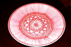 Red and White Hand Drawn Plate with Pattern. $22.00, via Etsy.