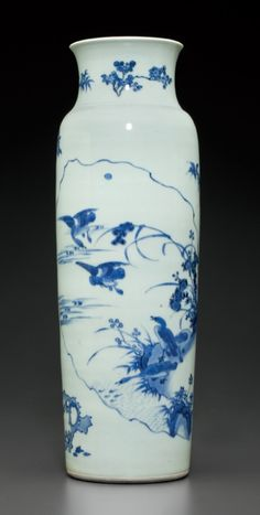 A large blue and white sleeve vase, Transitional period, circa 1640-1650.