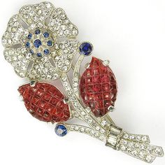 Coro-Pave-Sapphires-and-Invisibly-Set-Rubies-Flower-and-Leaves-Pin