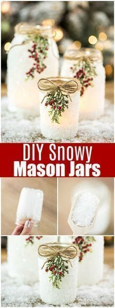 Mason Jars DIY Snowy Mason Jars -how to make faux snow covered mason jar luminaries for your holiday mantle and porch.DIY Snowy Mason Jars -how to make faux snow covered mason jar luminaries for your holiday mantle and porch. Christmas Jars, Winter Christmas, Christmas Holidays, Mason Jar Christmas Decorations, Christmas Movies, House Decorations, Diy Christmas Wedding, Christmas Christmas, Christmas Decorating Ideas