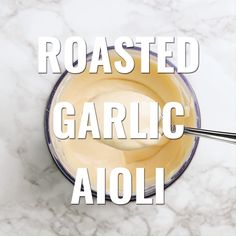 Appetizer Recipes Discover Roasted Garlic Aioli Roasted garlic aioli comes together in a snap and can be served as a dipping sauce drizzled over burgers and steaks or with seafood. This recipe is truly so easy and it tastes incredible. Roasted Garlic Aioli, Easy Garlic Aioli Recipe, Roasted Garlic Vinaigrette Recipe, Roasted Garlic Dressing, Lemon Garlic Aioli, Fried Garlic, Garlic Mayo, Creamy Garlic Sauce, Garlic Recipes