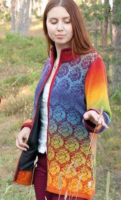 Kauni - Cardigan with lining Fair Isle Knitting Patterns, Crochet Patterns, Sewing Patterns, Double Knitting, Fabric Painting, Mantel, Line, Knitwear, Knit Crochet