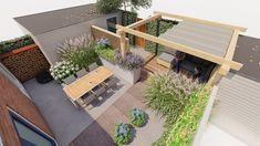 Moderne kleine tuin met veranda. - GreenART Back Gardens, Small Gardens, Atrium, Garden Sitting Areas, Garden Gadgets, Small Garden Design, White Gardens, Outdoor Furniture Sets, Outdoor Decor