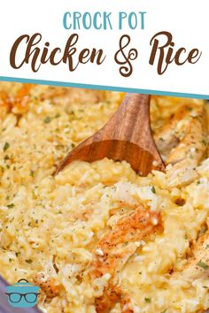 This creamy Crock Pot Chicken and Rice is an easy, classic family favorite made with seasoned chicken, long grain rice, onions, garlic and broth.