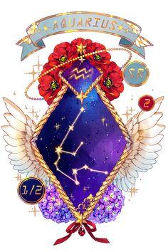 Anime Horoscope, Anime Zodiac, Zodiac Signs, Zodiac Art, Air Signs, Dragon Figurines, Weapon Concept Art, Overlays, Tarot