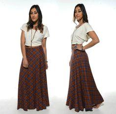 Vintage 70s Orange PLEATED PLAID Maxi Skirt Love this!!