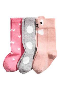 3-pack knee socks - Powder pink - Kids | H&M GB 1