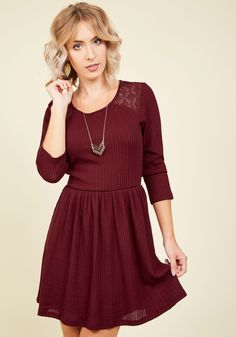 Pike Festival Participant Dress. The road to finding your ideal look for the community festival was long, but this burgundy dress made the journey worth it! #red #modcloth
