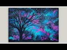 Time-lapse Sponge Painting a Galaxy and Tree Silhouette Acrylic Painting Demonstration - YouTube