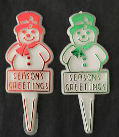80 Vintage Cake CupCake Topper Picks Christmas  Snowman Red & Green