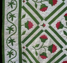 detail of COXCOMB APPLIQUE  Unknown Quilt Maker  Collected in Ohio  80 x 80 inches  Circa 1870