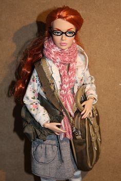 omgosh she's got my glasses, too! /Poppy Parker red-headed OOAK doll