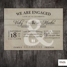 Engagement party invitations engagement party invitation couples items similar to engagement party invitation wedding announcment vintage printed or diy on etsy solutioingenieria Choice Image