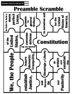 Puzzle Of Preamble. Scramble them up and have your students create the Preamble of the Constitution.