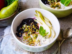 Ginger spiced apple bircher muesli is a healthy breakfast easy to make ahead. With a base of gluten free oats & chia, you can also make this dairy free.